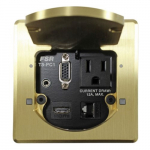 "3.5"" HDMI Table Box with 2 Button, Square, Brass"